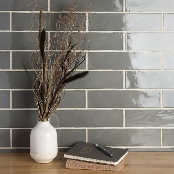 Somertile 3x12 Inch Gloucester Grey Ceramic Wall Tile 22 Tiles 5 Sqft
