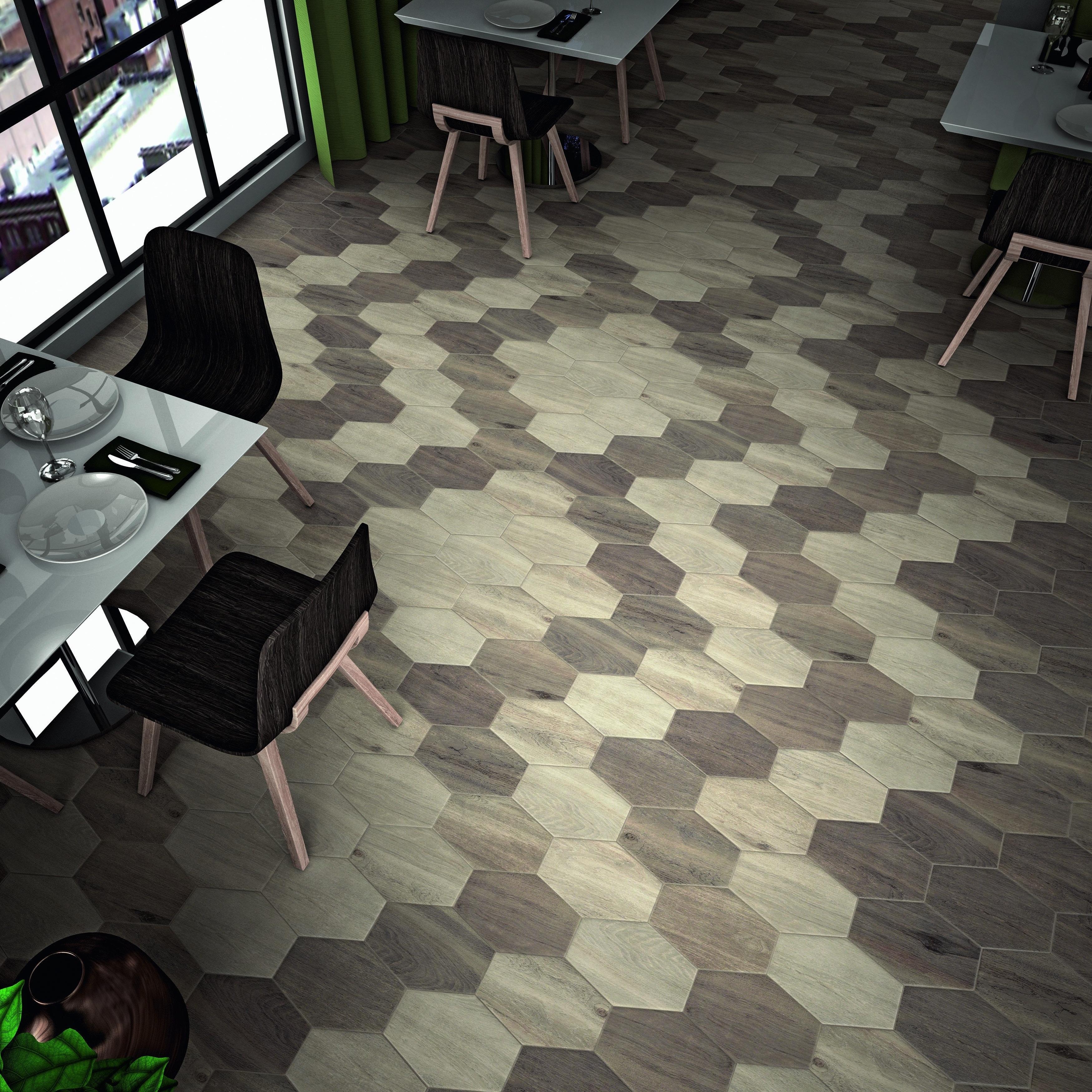 SomerTile 8.375x11.75-inch Legno Hex Irr Tilo Porcelain Floor and Wall Tile (21 tiles/10.76 sqft.) (CASE-Legno Hex)