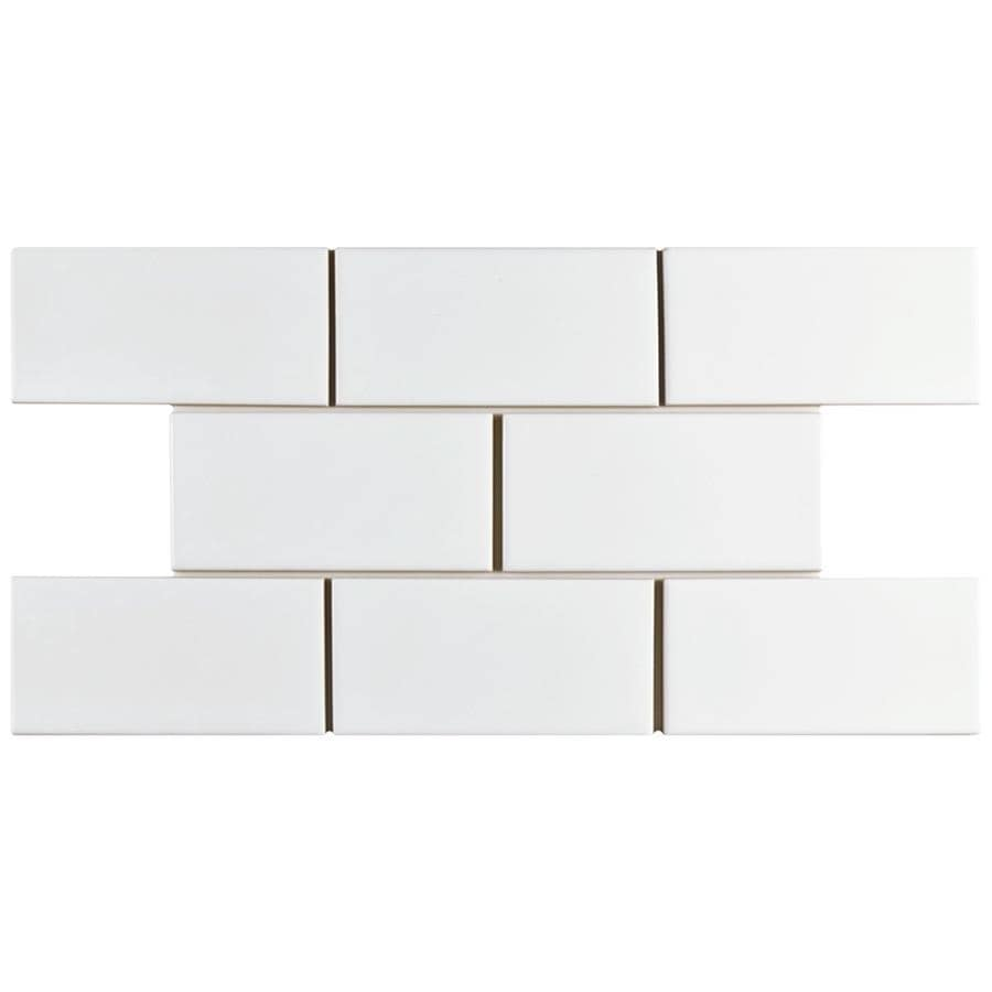 Somertile 3x6 Inch Malda Subway Glossy White Ceramic Wall Tile 136 Tiles 19 18 Sqft