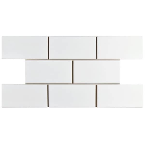 SomerTile 3x6-inch Malda Subway Glossy White Ceramic Wall Tile (136 tiles/17 sqft.)