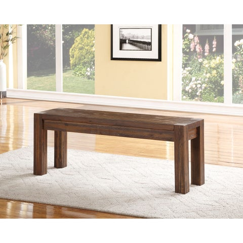 Wire Brushed Solid Wood Dining Bench in Brick Brown