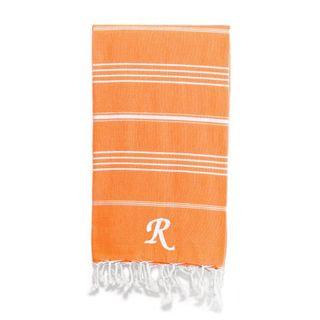 Authentic Pestemal Fouta Original Dark Orange and White Striped Turkish Cotton Bath/Beach Towel with Monogram Initial