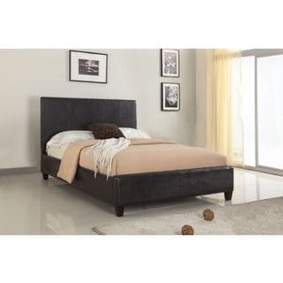 Modern Upholstered Platform Bed in Chocolate