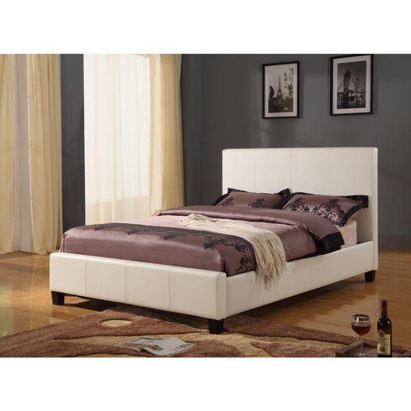 a3c2d2998c3 Shop Modern Full-size Upholstered Platform Bed in Ivory - Free ...