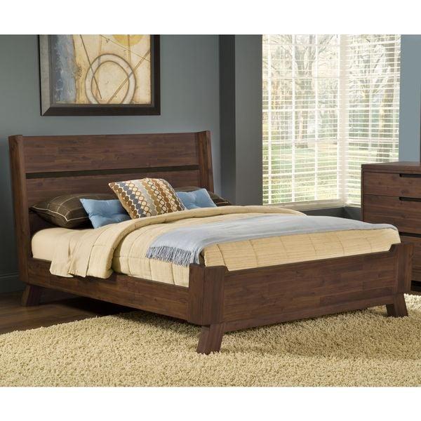 shop assymetrical full size solid wood platform bed free shipping today 10608375. Black Bedroom Furniture Sets. Home Design Ideas