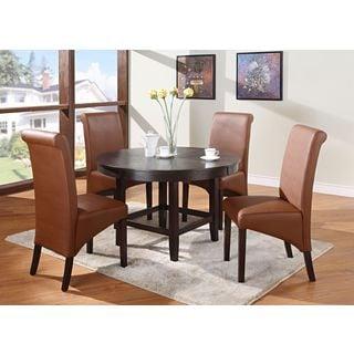 Legged Pedestal 48-inch Round Dining Table in Dark Chocolate