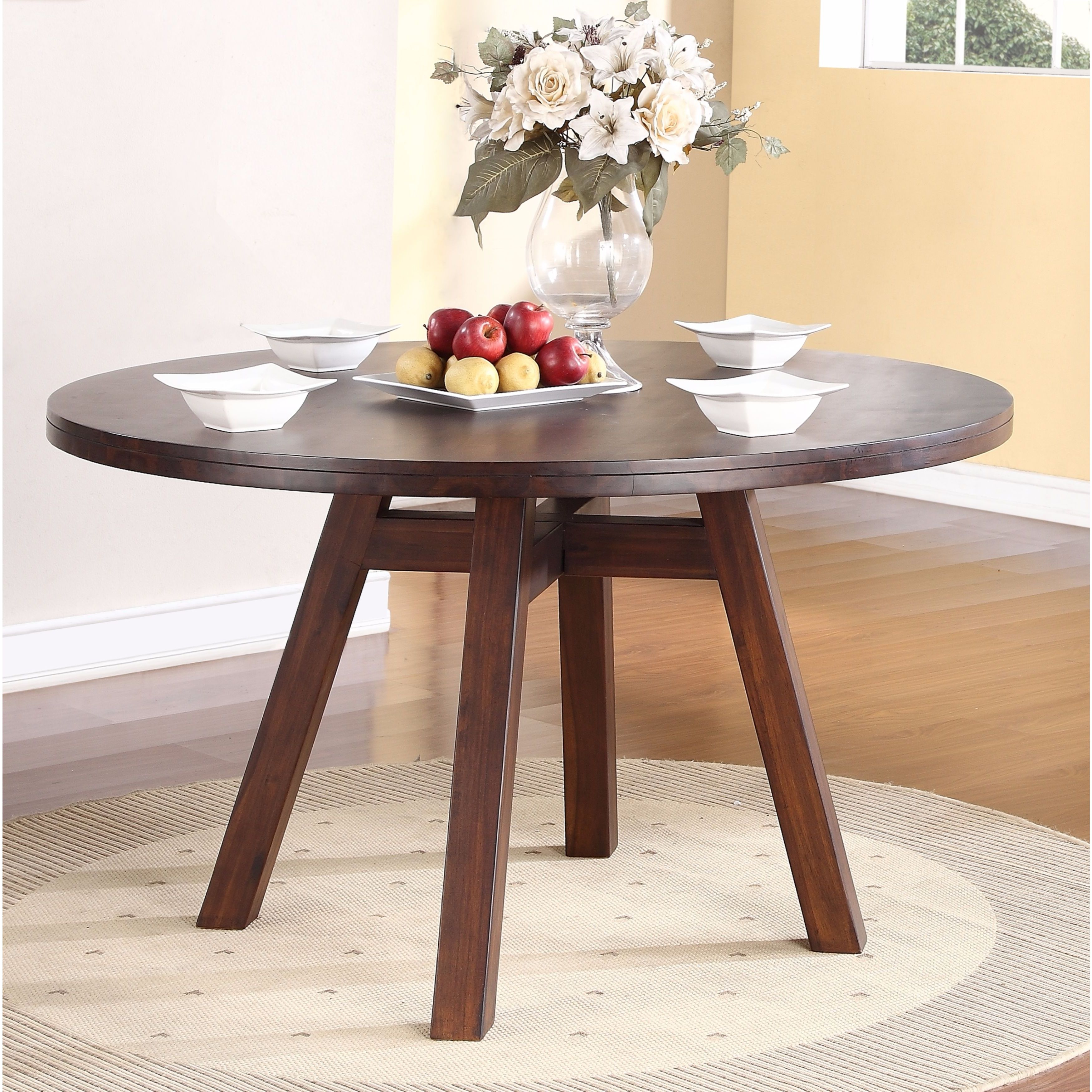 Solid Wood Modern Solid Wood Round Dining Table Brown Free