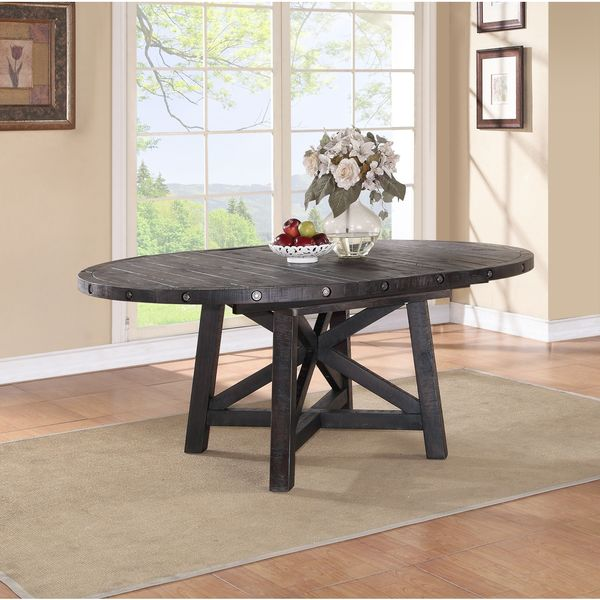 Industrial Solid Wood Round Extension Table