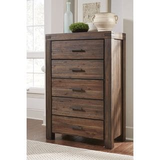 Wire Brushed Five Drawer Solid Wood Chest in Brick Brown