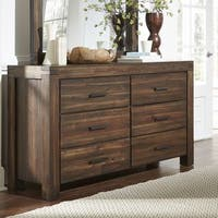 Wire Brushed Six Drawer Solid Wood Dresser in Brick Brown