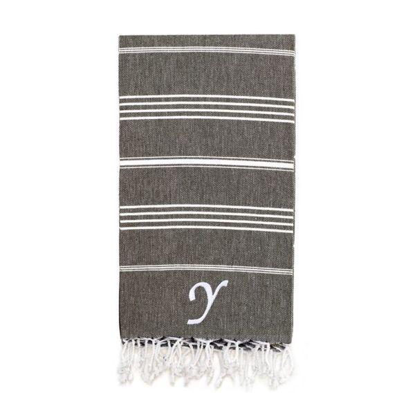 Authentic Pestemal Fouta Original Black Charcoal and White Striped Turkish Cotton Bath/Beach Towel with Monogram Initial