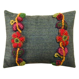 Flowerscape 16-inch Hooked Wool Pillow