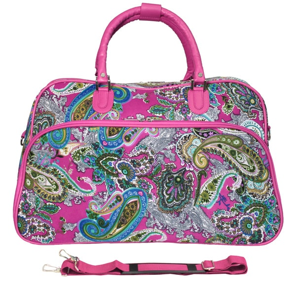 World Traveler Multi Paisley Pink 21-inch Carry On Satchel Duffle ...