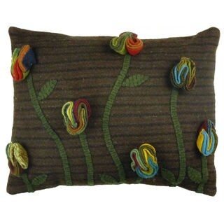 Wildflower Applique 16-inch Wool Pillow