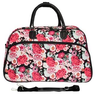 World Traveler Flower 21-inch Carry On Satchel Duffle Bag