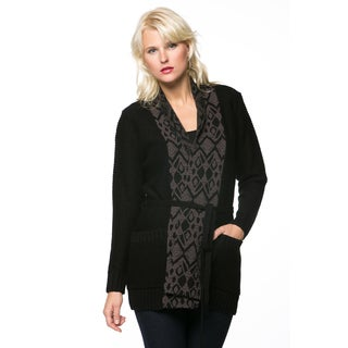 High Secret Women's Black Thigh Length Open Knit Cardigan