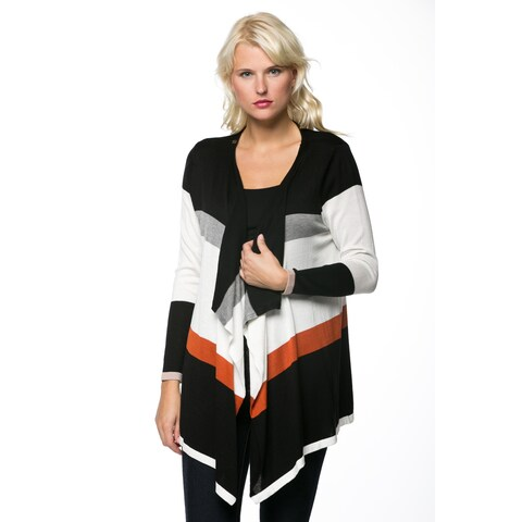 High Secret Women's Colorblock Striped Open Front Cardigan