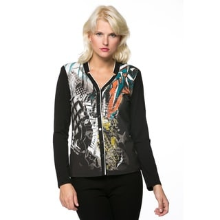 High Secret Women's Mandarin Collared Multicolored Blazer