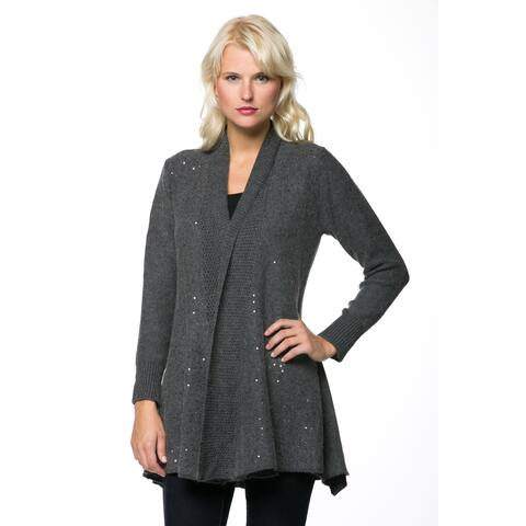 High Secret Women's Long Sleeve Glitter Embellished Cardigan