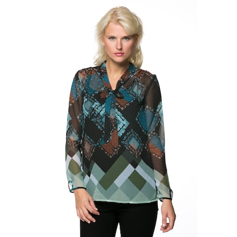 High Secret Women's Multi-colored Geometric Tie Closure Blouse