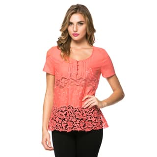 High Secret Women's Coral Lace Embellished Blouse (As Is Item)|https://ak1.ostkcdn.com/images/products/10608455/P17680087.jpg?impolicy=medium