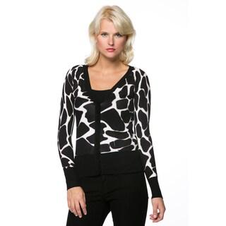 High Secret Women's Animal Print Embellished Button Down Sweater