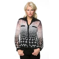 High Secret Women's Geometric Print Button Down Blouse