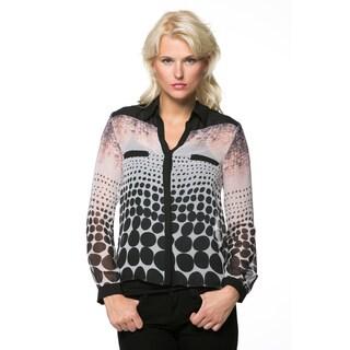 High Secret Women's Geometric Print Button Down Blouse