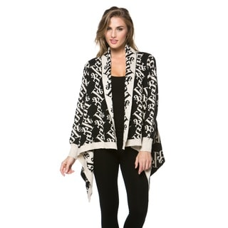 High Secret Women's Black Printed Knitted Cardigan