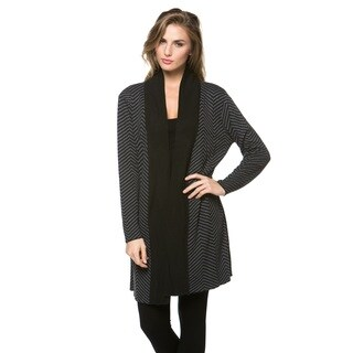 High Secret Women's Chevron Design Open Front Cardigan