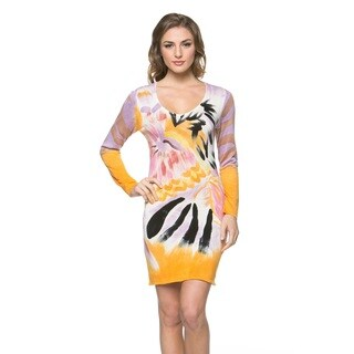 High Secret Women's Hand-painted Purple/ Yellow Long-sleeve Bodycon Dress