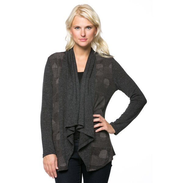 High Secret Women's Long-sleeve Geometric Open Front Cardigan