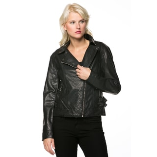 High Secret Women's Black Zip-up Faux Leather Moto Jacket