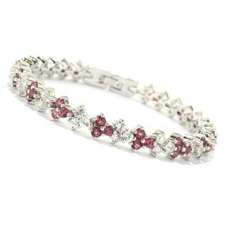 Sterling Silver 12ct Pink Tourmaline and Diamond-cut Natural White Zircon Small Chevron Bracelet, 7.25-inch