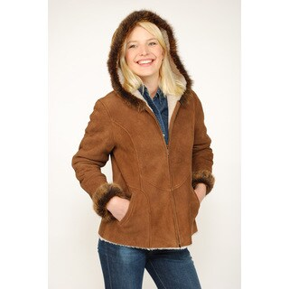 Aston Leather Women's Sheepskin Shearling Hooded Car Coat - Free ...