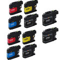 10 PK LC203 XL 4 BK + 2 x CMY Compatible Inkjet Cartridge For Brother DCP-J4120DW MFC-J4420DW (Pack of 10)