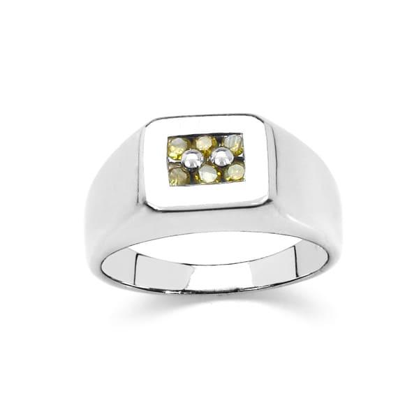 Malaika Sterling Silver 1/6ct TDW Yellow Diamond Ring