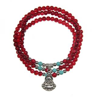 Handmade Elastic Red Agate Bracelet/ Necklace with Maitreya Happy Buddha Charm (China)