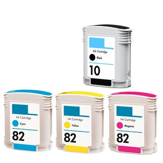 4PK C4844A C4911A - C4913A (HP 82) BK C Y M Compatible Ink Cartridge For HP Designjet 1000 1100 800 500 (Pack of 4)