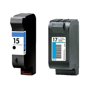 1Set HP C6615 (HP 15) Black & HP C6625 (HP 17) Color Compatible Ink Cartridge For HP Deskjet 825C 810C (Pack of 2)