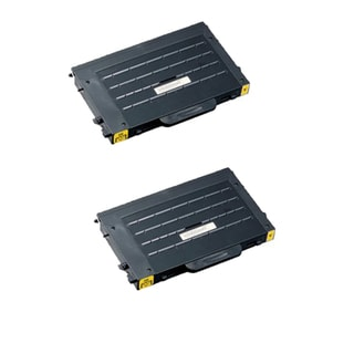 2PK Compatible CLP-500D5Y Yellow Toner Cartridge For Samsung CLP-500 (Pack of 2)