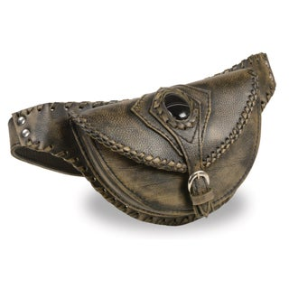 Women's Hand Braided Leather Hip Bag with Stone Inlay and Gun Holster (Option: Beige)