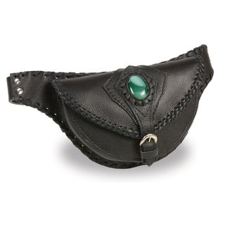 Women's Hand Braided Leather Hip Bag with Stone Inlay and Gun Holster