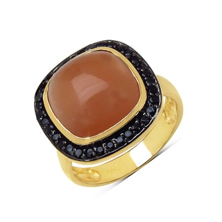 Malaika .925 14k Goldplated Silver 7 1/2ct Peach Moonstone and Black Spinel Ring