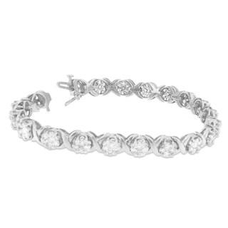 14k White Gold 6 1/2ct TDW Round Diamond Bracelet (H-I, SI2-I1)
