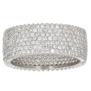 Pori 18k White Gold over Silver Pave Cubic Zirconia 7-row Eternity Ring