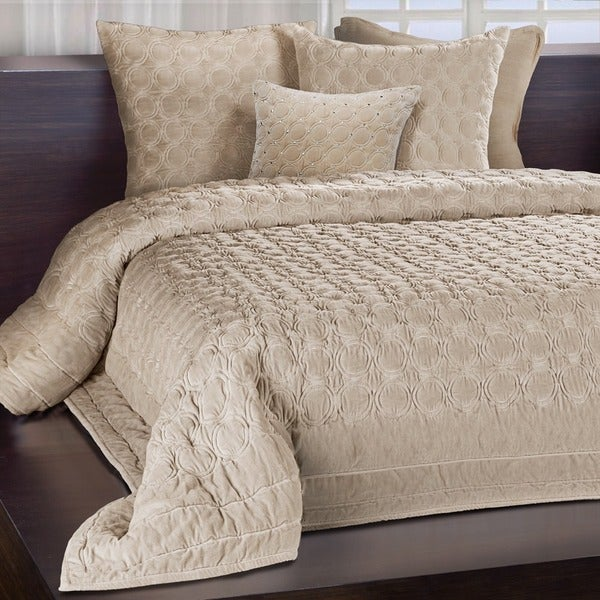 Chauran Meridian Sand Embroidered Luxe Velvet Quilt