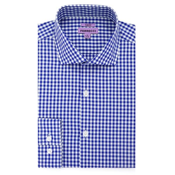 Ferrecci Mens Slim Fit Blue/White/Red Cotton Gingham Check Casual Dress Shirt