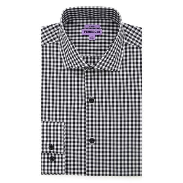 New Mens Short Sleeve Polo Shirt Slim Fit Black Red White Checker Pattern Cotton