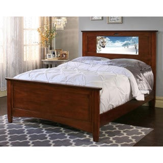 lightheaded beds chestnut canterbury full size light up headboard bed by lifetime free. Black Bedroom Furniture Sets. Home Design Ideas